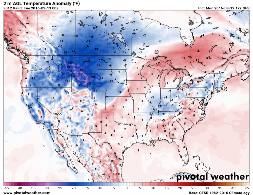 Temperatures will be 15 to 25 degrees below normal across the Northern Rockies and Northern Plains today behind a cold front. Image provided by Pivotal Weather.