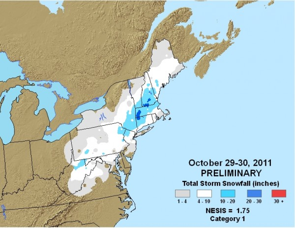 nowfall from the Halloween snowstorm of 2011. Image provided by NOAA.