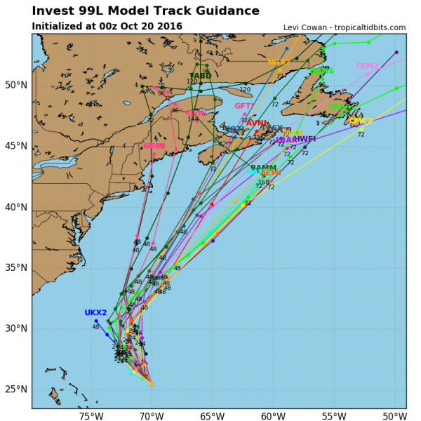 Computer model forecasts for the track of a tropical disturbance in the Bahamas. Image provided by Tropical Tidbits.