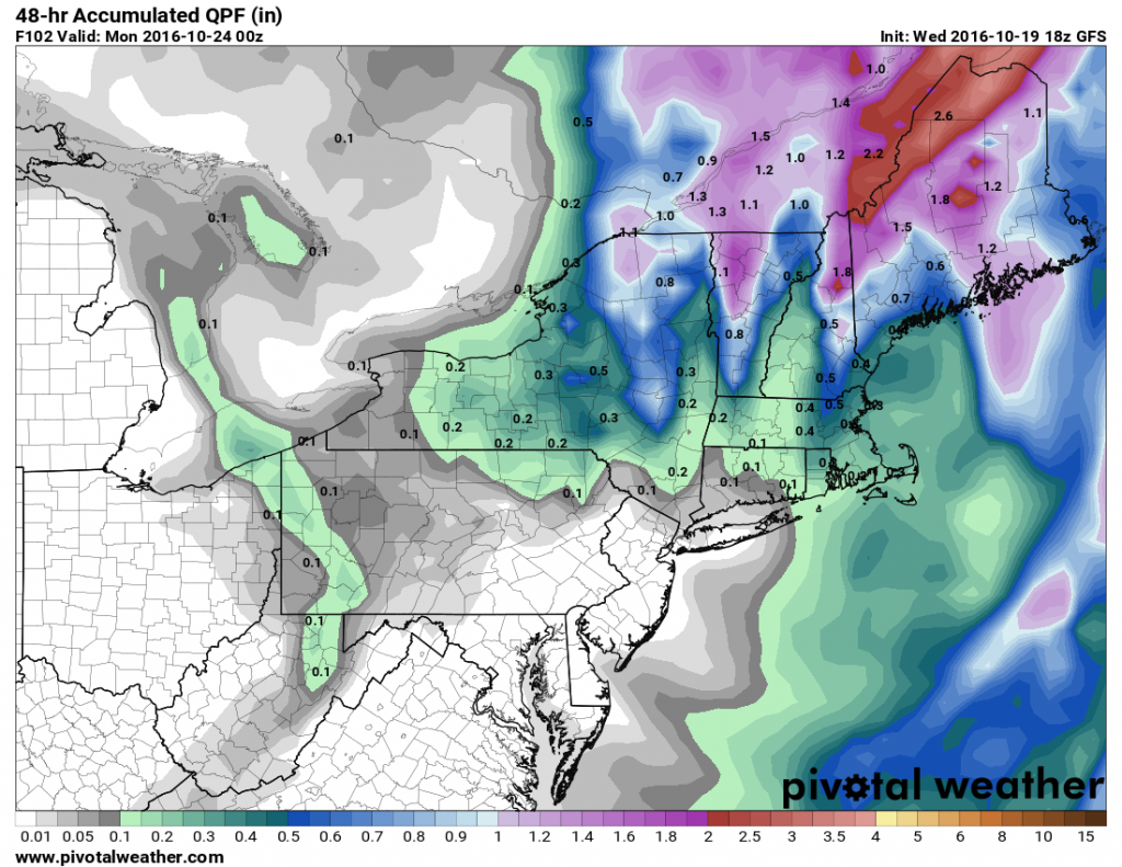 Expected rainfall between Friday evening and Sunday evening across the Northeast. Image provided by Pivotal Weather.