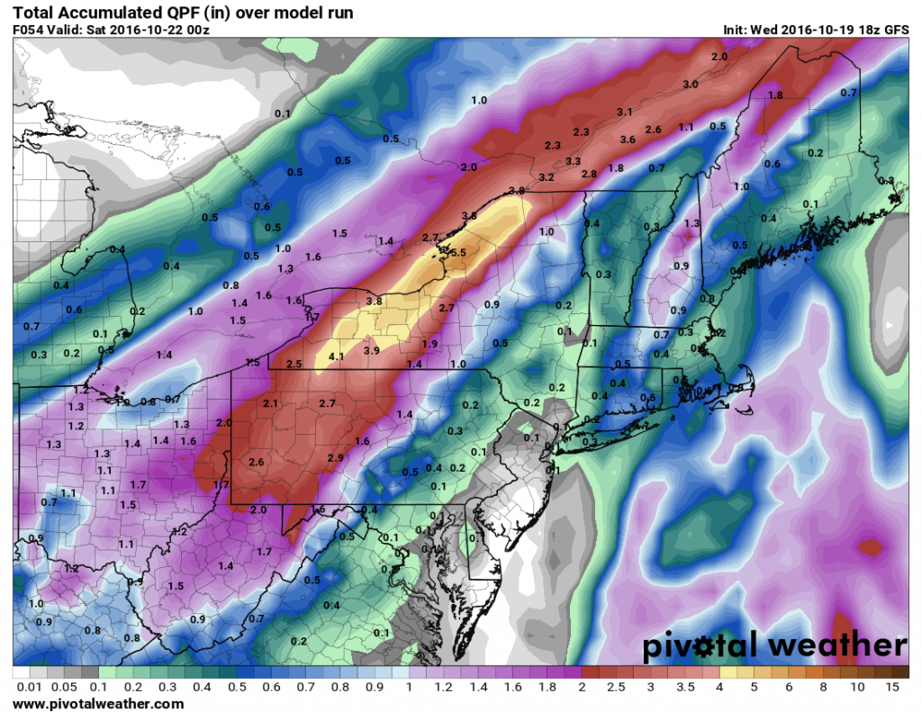 Expected rainfall through Friday evening across the Northeast. Image provided by Pivotal Weather.