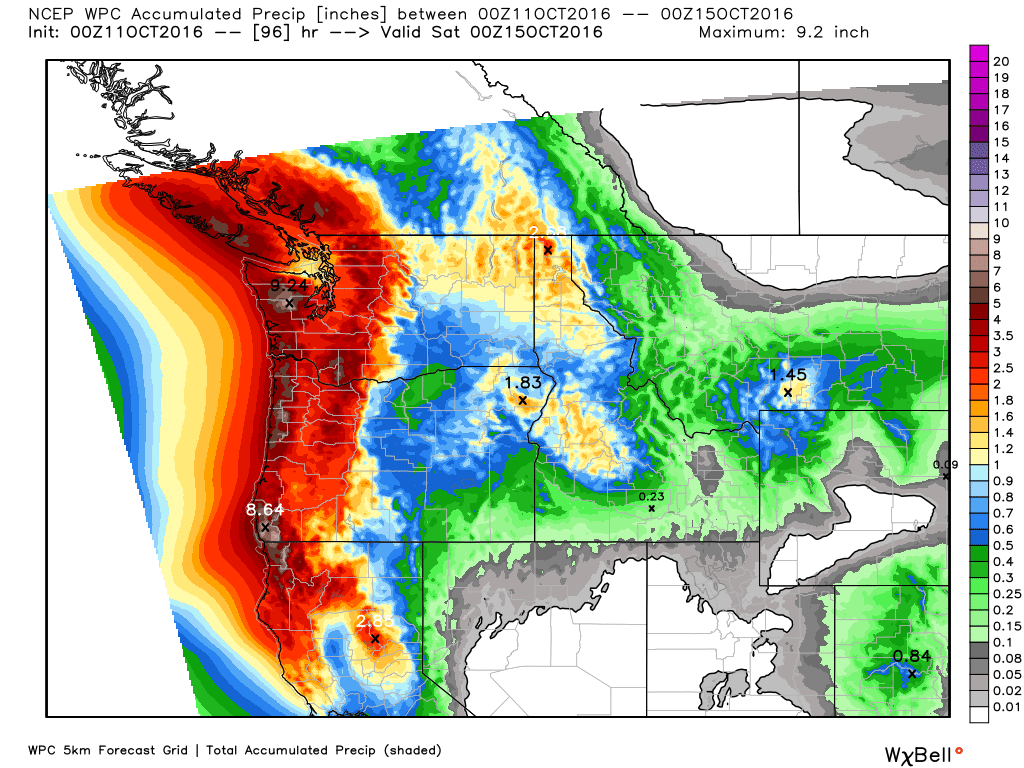 Expected rainfall across the Pacific Northwest through Friday evening. Image provided by WeatherBell.