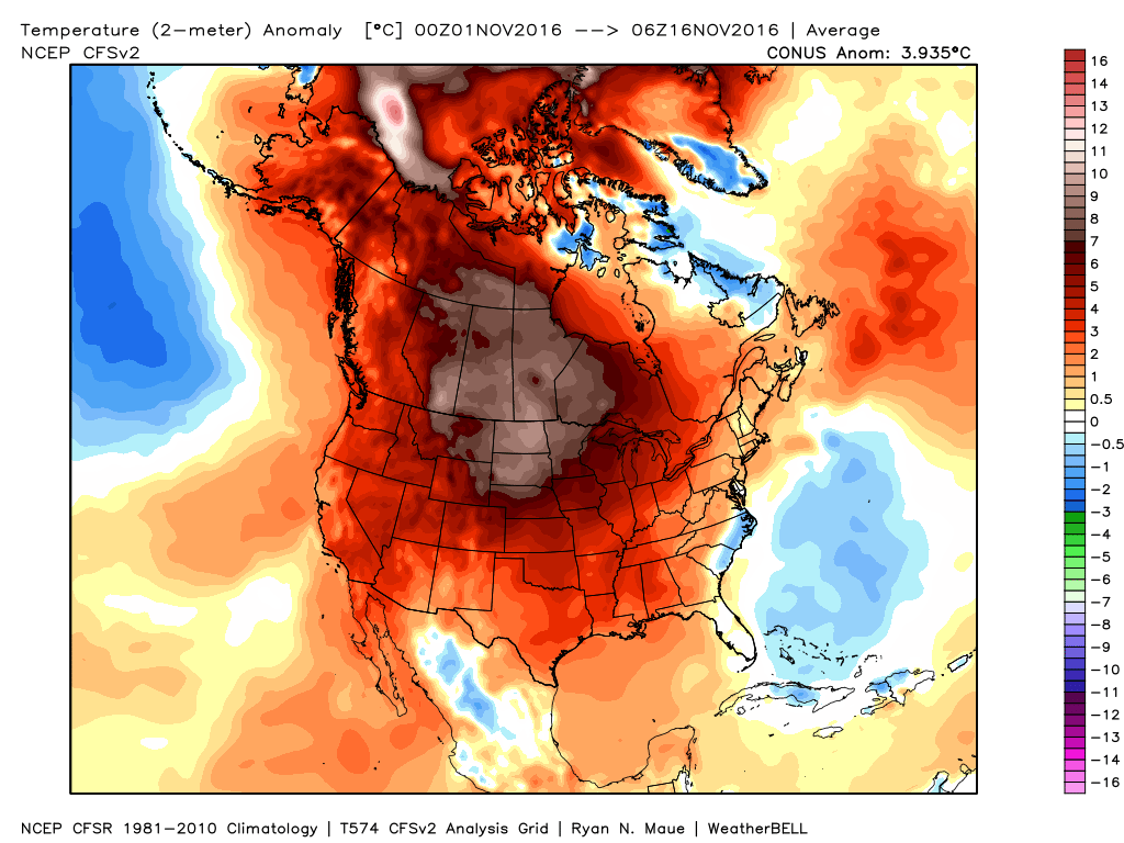 Temperatures have been as much as 10-15 degrees above normal this month across the Northern Plains. Image provided by WeatherBell.