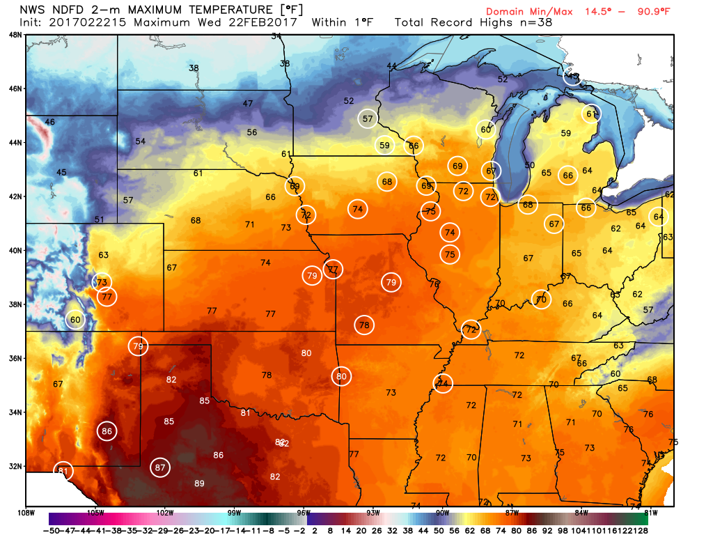 Numerous record highs are expected across the Plains and Midwest for one more day. Image provided by WeatherBell.