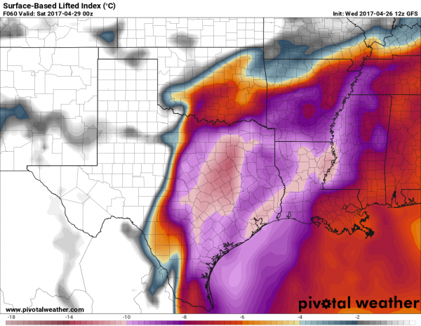 Models are showing that a very unstable airmass will be in place across Texas and the Lower Mississippi Valley Friday afternoon. Image provided by Pivotal Weather.