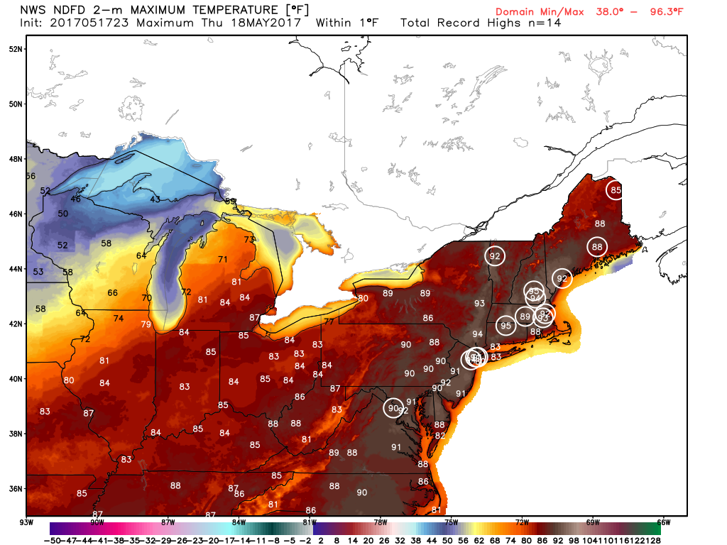 Record high temperatures are expected to be broken across the Northeast on Thursday. Image provided by WeatherBell.