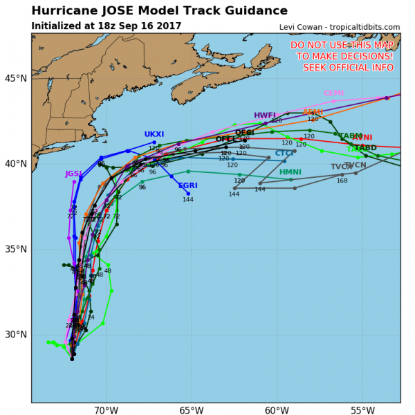 Model forecast for the track of Hurricane Jose. Image provided by TropicalTidbits.