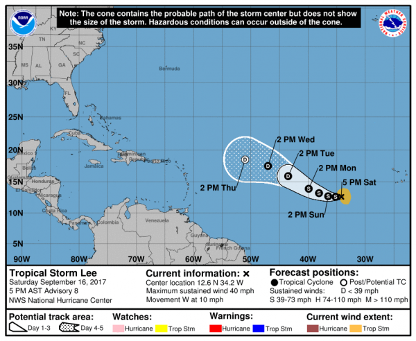 Forecast track for Tropical Storm Lee. Image provided by the National Hurricane Center.
